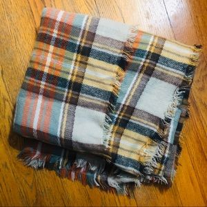 Plaid Warm Color Blanket Scarf